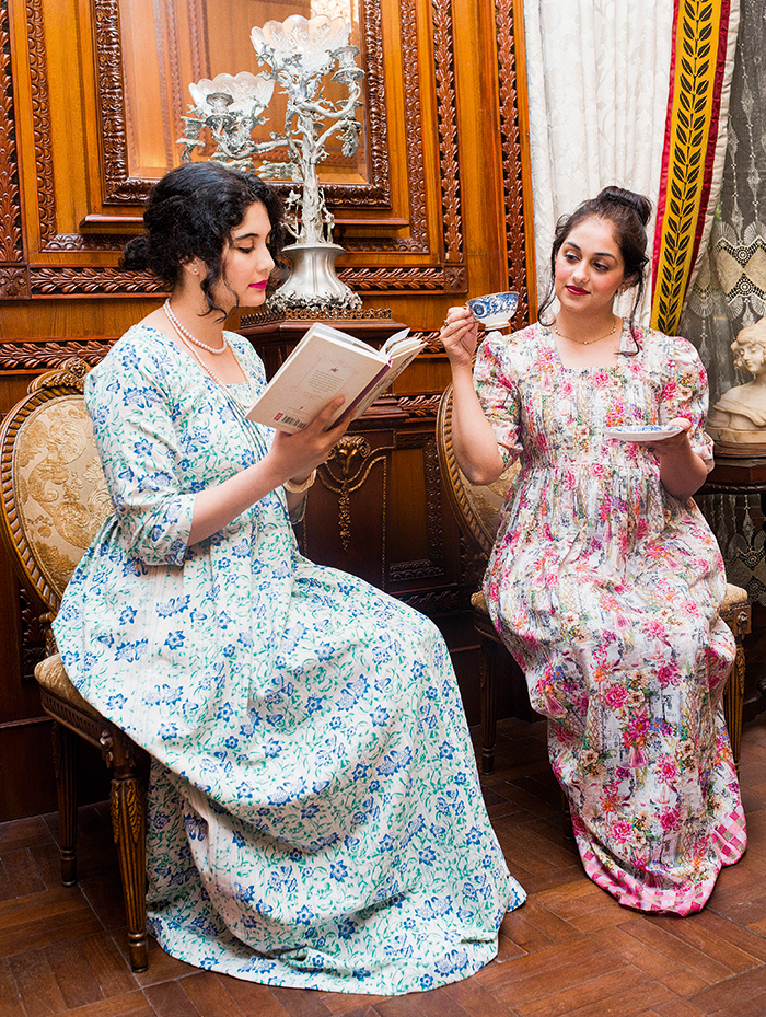 Chai Society JASP members Mina Malik Hussain (left) with Mehr Husain at the annual dress-up tea party in Lahore