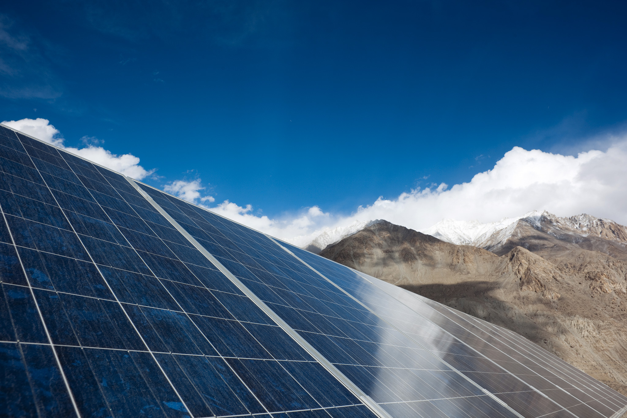 seeing the light  solar panels in shayok the sky and mountains glint off the solar panels which have transformed life in shayok like most remote ladakhi communities shayok